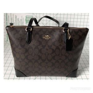 Not Available: Coach Signature Brown Black Tote